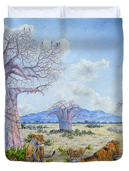 Lions By The Baobab Duvet Cover