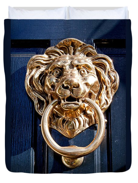 Duvet Cover featuring the photograph Lion's Head by Jean Haynes