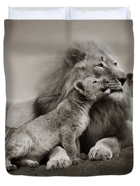 Duvet Cover featuring the photograph Lions In Freedom by Christine Sponchia