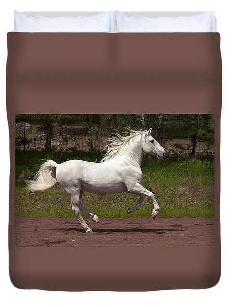 Duvet Cover featuring the photograph Lipizzan At Liberty D5809 by Wes and Dotty Weber