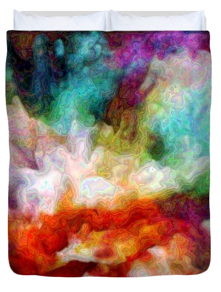 Duvet Cover featuring the digital art Liquid Colors - Enamel Edition by Lilia D