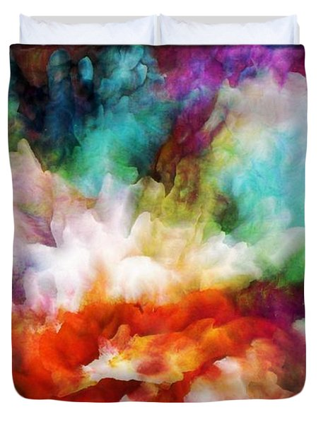Duvet Cover featuring the painting Liquid Colors - Original by Lilia D