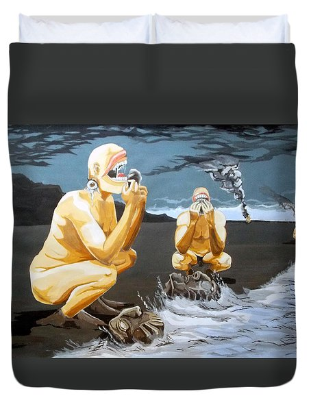 Duvet Cover featuring the painting Lithophagus Listen With Music Of The Description Box by Lazaro Hurtado