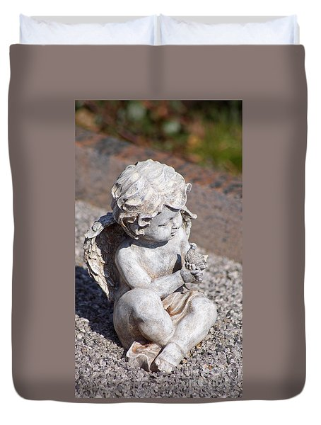 Little Angel With Bird In His Hand - Sculpture Duvet Cover