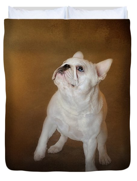Little Beggar - White French Bulldog Duvet Cover