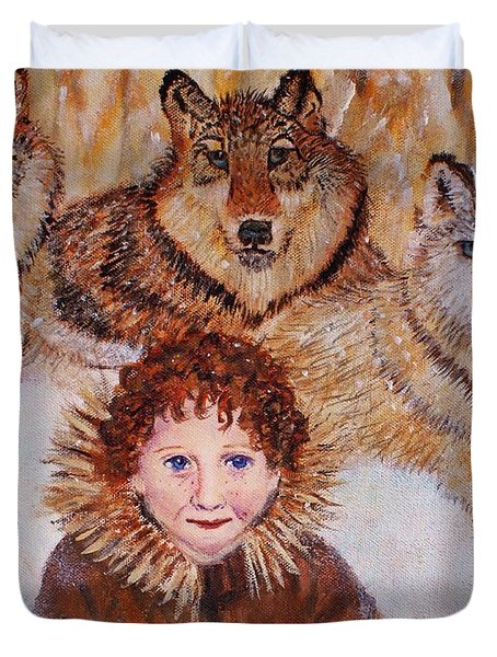 Little Bernard And The Wolves Duvet Cover by The Art With A Heart By Charlotte Phillips