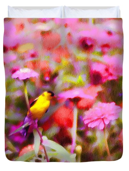 Little Birdie In The Spring Duvet Cover by Bill Cannon