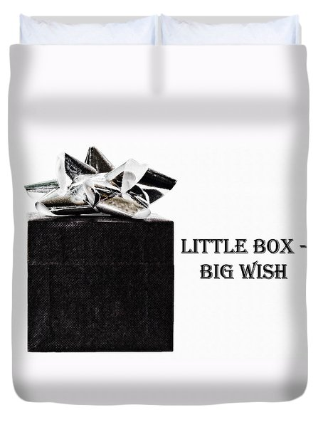 Duvet Cover featuring the photograph Black Present With A Silver Bow by Vizual Studio