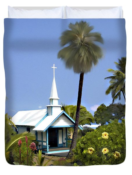 Little Blue Church Kona Duvet Cover