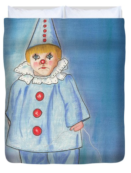 Duvet Cover featuring the painting Little Blue Clown by Arlene Crafton