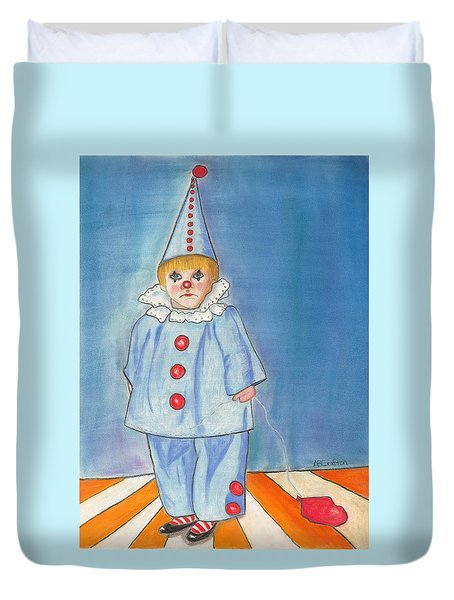 Little Blue Clown Duvet Cover
