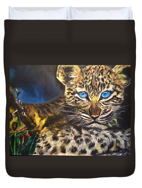 Little Blue Eyes Duvet Cover by Belinda Low