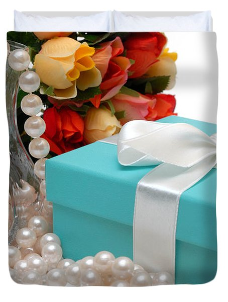 Little Blue Gift Box With Pearls And Flowers Duvet Cover