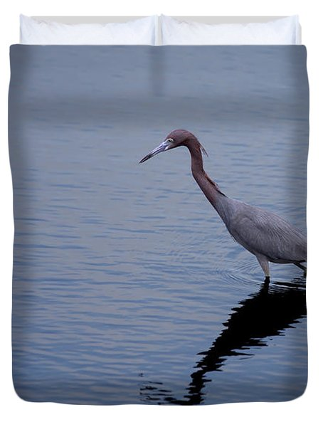 Duvet Cover featuring the photograph Little Blue Heron On The Hunt by John M Bailey