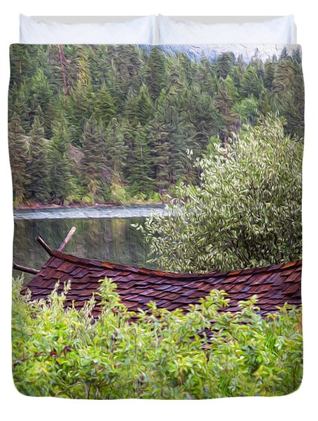 Little Cabin On A Lake Duvet Cover by Omaste Witkowski