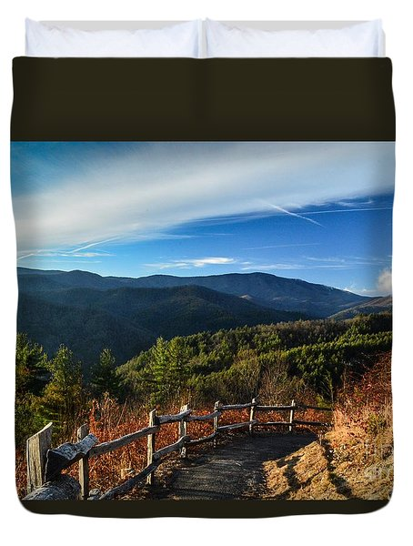 Duvet Cover featuring the photograph Little Cataloochee Overlook In Summer by Debbie Green