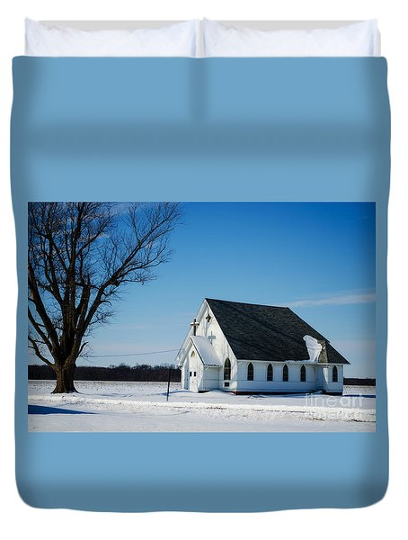 Little Church On The Prairie Duvet Cover by Luther Fine Art
