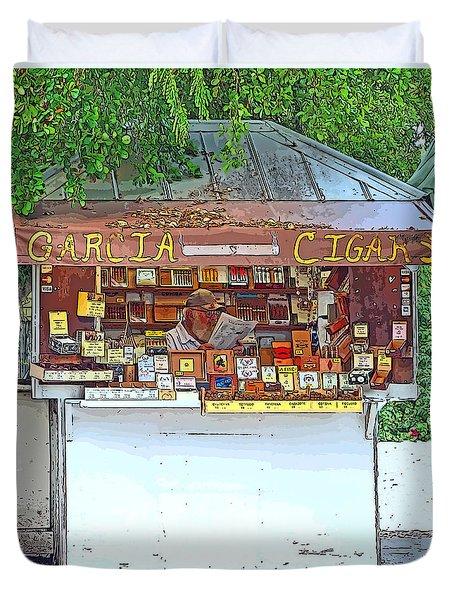 Little Cigar Shop Key West Duvet Cover