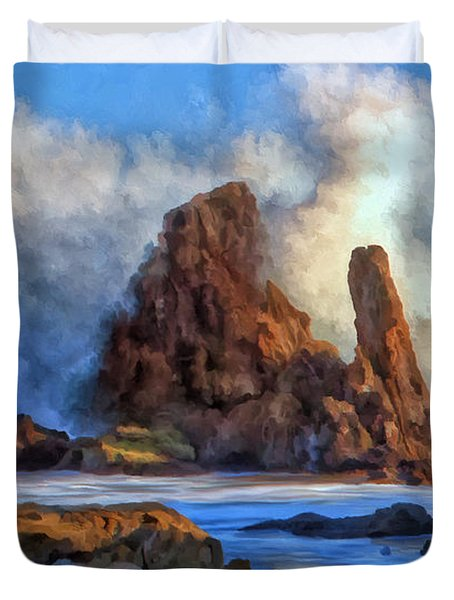 Duvet Cover featuring the painting Little Corona by Michael Pickett