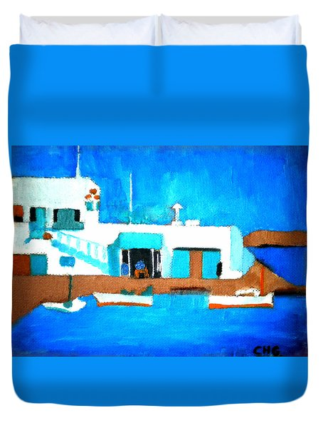 Paros  Cute Spot On Greek Island Duvet Cover