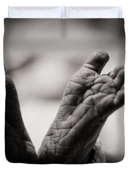 Little Feet Duvet Cover by Adam Romanowicz