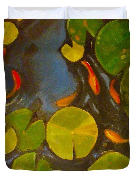 Little Fish Koi Goldfish Pond Duvet Cover