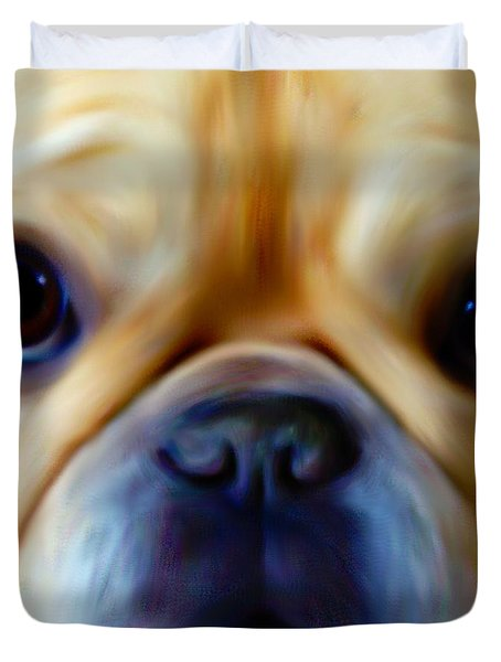 Little Frenchie Face Duvet Cover by Barbara Chichester