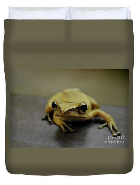 Duvet Cover featuring the photograph Little Frog by Michelle Meenawong