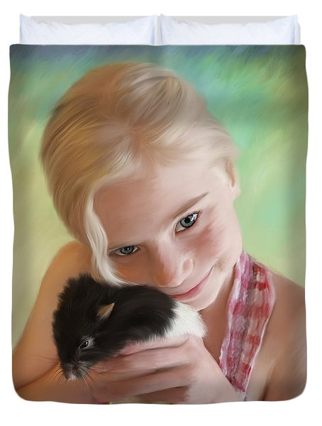 Little Girl And Pet Rat Duvet Cover by Angela A Stanton