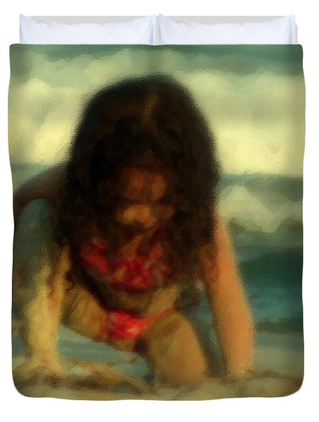 Duvet Cover featuring the photograph Little Girl At The Beach by Lydia Holly