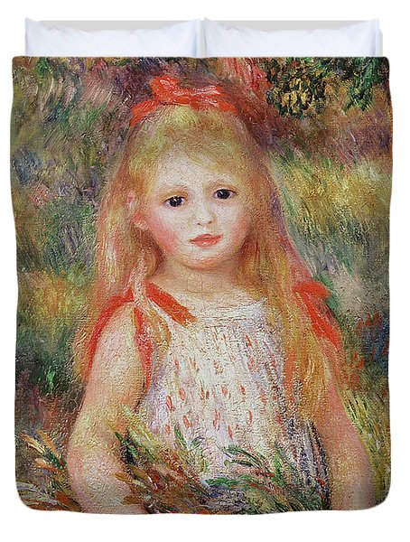 Little Girl Carrying Flowers Duvet Cover by Pierre Auguste Renoir