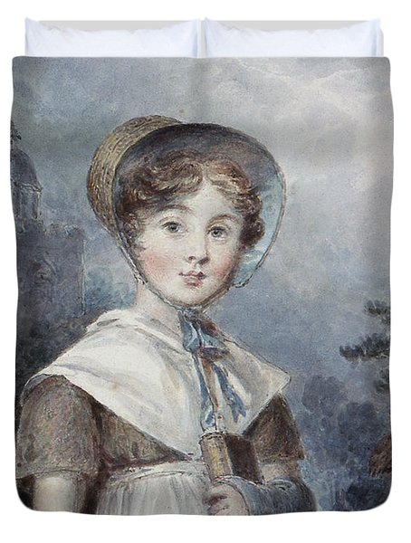 Little Girl In A Quaker Costume Duvet Cover by Isaac Pocock