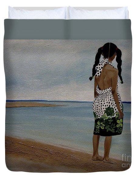 Little Girl On The Beach Duvet Cover