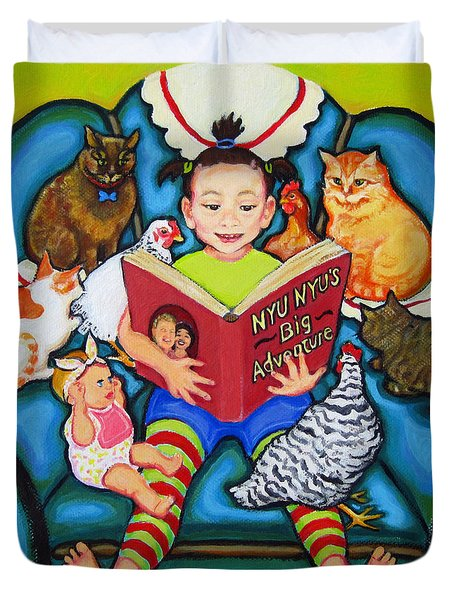 Little Girl Reading To Doll Cats Chickens Duvet Cover by Rebecca Korpita