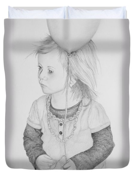 Little Girl With Balloon Duvet Cover