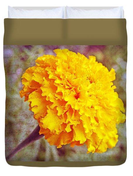 Duvet Cover featuring the photograph Little Golden  Marigold by Kay Novy