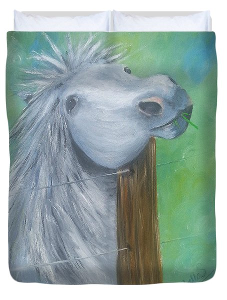 Duvet Cover featuring the painting Little Grey Has An Itch by Isabella F Abbie Shores FRSA
