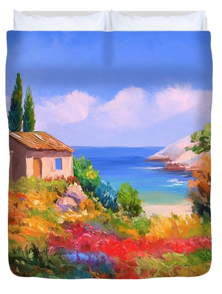 Little House By The Sea Duvet Cover by Tim Gilliland