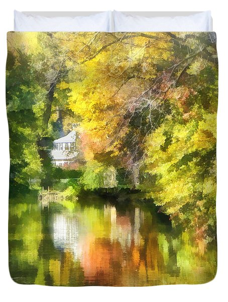 Little House By The Stream In Autumn Duvet Cover by Susan Savad