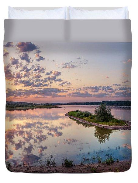 Little Island On Sunset Duvet Cover