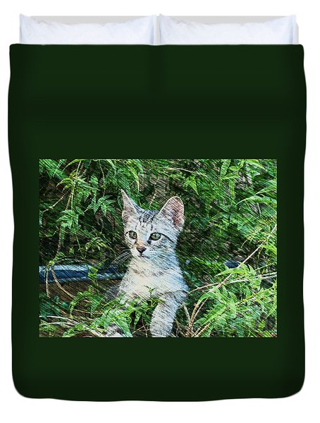 Duvet Cover featuring the photograph Little Kitten by Kathy Churchman