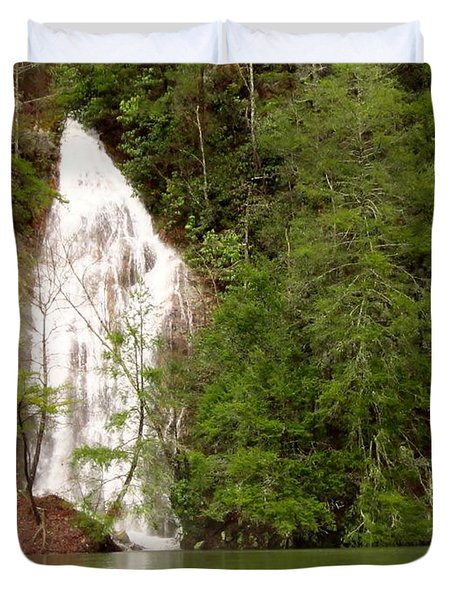Little Laurel Branch Falls Landscape Duvet Cover