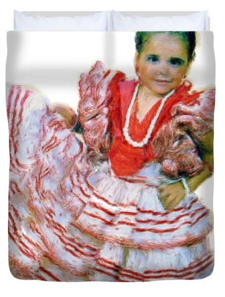 Duvet Cover featuring the painting Little Lidia by Bruce Nutting