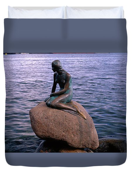 Little Mermaid Statue On Waterfront Duvet Cover