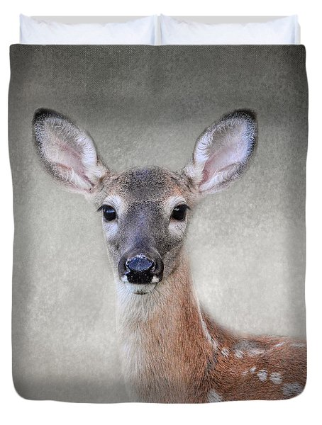 Little Miss Lashes - White Tailed Deer - Fawn Duvet Cover by Jai Johnson