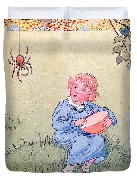 Little Miss Muffet Duvet Cover by Leonard Leslie Brooke