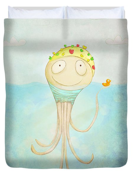 Little Octopus The Swimming Champ And His Rubber Ducky Duvet Cover