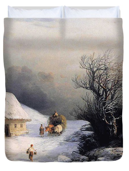 Little Oxcart Duvet Cover by Ivan Constantinovich Aivazovsky