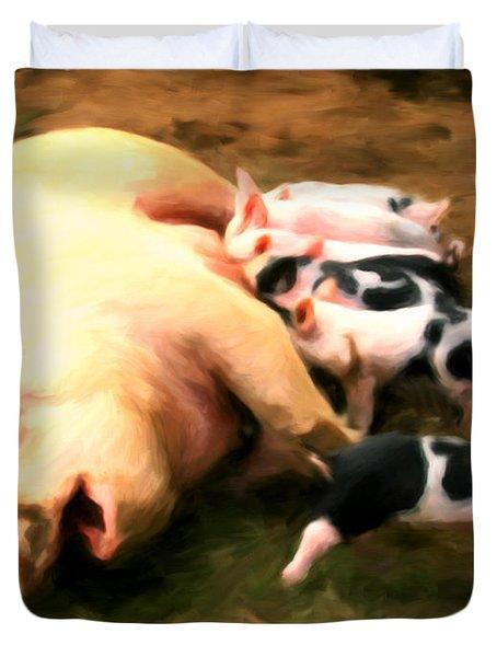 Little Piggies Duvet Cover by Michael Pickett