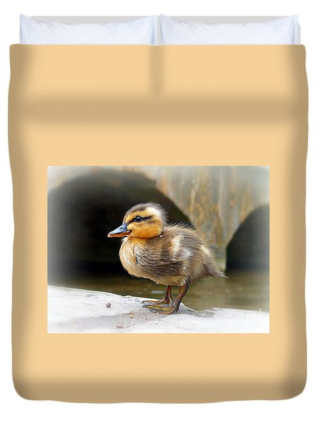 Duvet Cover featuring the photograph Little Quack by Morag Bates